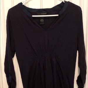 Calvin Klein 1/2 Sleeve Gathered Navy Shirt